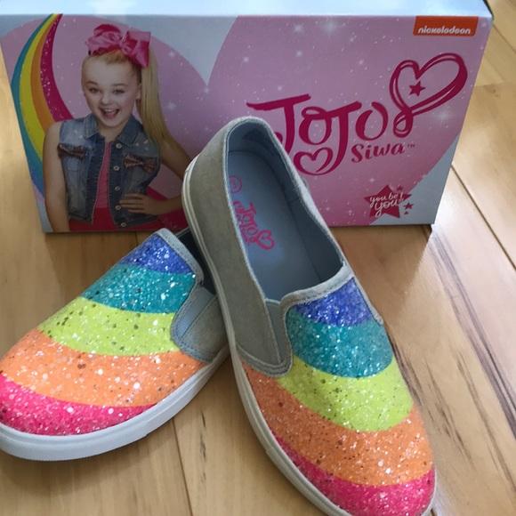 Leagacee Hi-Top Bow Sneaker Shoes Rainbow Glitter Girls size 1-4 Jojo Siwa